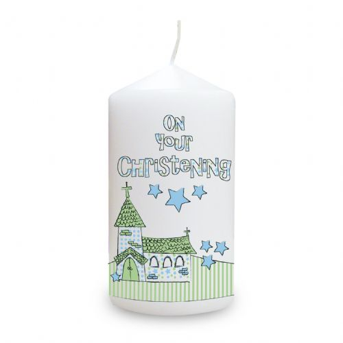 Personalised Blue Christening Church Candle